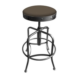910 Industrial-Adjustable Stool with Clear Coat Finish and Canter Earth Seat