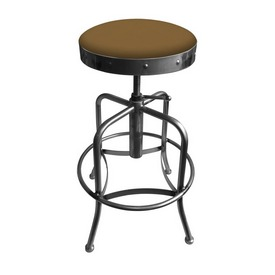 910 Industrial-Adjustable Stool with Clear Coat Finish and Canter Saddle Seat
