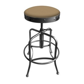910 Industrial-Adjustable Stool with Clear Coat Finish and Canter Sand Seat