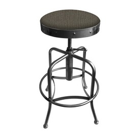 910 Industrial-Adjustable Stool with Clear Coat Finish and Graph Chalice Seat