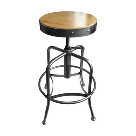 910 Industrial-Adjustable Stool with Clear Coat Finish and Natural Distressed Hardwood Seat