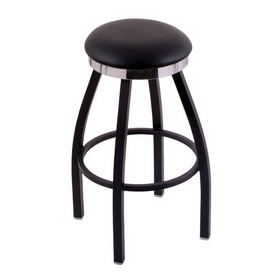 C8B2C Swivel Stool with Black Wrinkle Finish, Flat Chrome Accent Ring and a Black Vinyl Seat