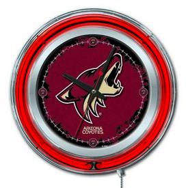 Arizona Coyotes Double Neon Ring, Logo Clock by Holland Bar Stool Company