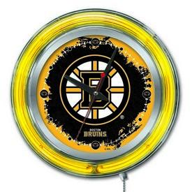Boston Bruins Double Neon Ring, Logo Clock by Holland Bar Stool Company