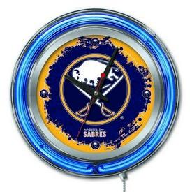Buffalo Sabres Double Neon Ring, Logo Clock by Holland Bar Stool Company