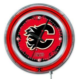 Calgary Flames Double Neon Ring, Logo Clock by Holland Bar Stool Company