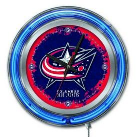 Columbus Blue Jackets Double Neon Ring, Logo Clock by Holland Bar Stool Company
