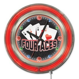 4 Aces Double Neon Ring, Logo Clock by Holland Bar Stool Company