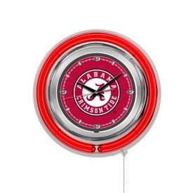 Alabama Double Neon Ring, Logo Clock by Holland Bar Stool Company (Script A) Logo