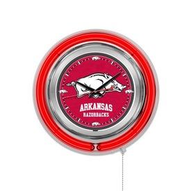 Arkansas Double Neon Ring, Logo Clock by Holland Bar Stool Company