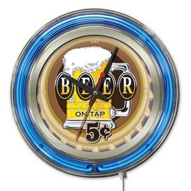 Beer 5 Cents Double Neon Ring, Logo Clock by Holland Bar Stool Company