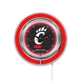 Cincinnati Double Neon Ring, Logo Clock by Holland Bar Stool Company