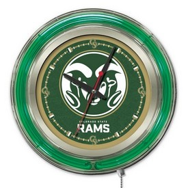 Colorado State Double Neon Ring, Logo Clock by Holland Bar Stool Company