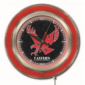 Eastern Washington Double Neon Ring, Logo Clock by Holland Bar Stool Company