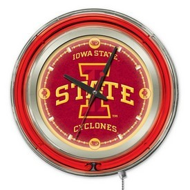 Iowa State Double Neon Ring, Logo Clock by Holland Bar Stool Company