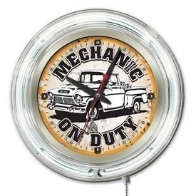 Mechanic on Duty Double Neon Ring, Logo Clock by Holland Bar Stool Company