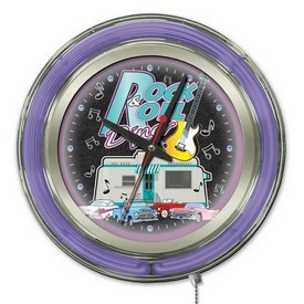 Rock & Roll Diner Double Neon Ring, Logo Clock by Holland Bar Stool Company