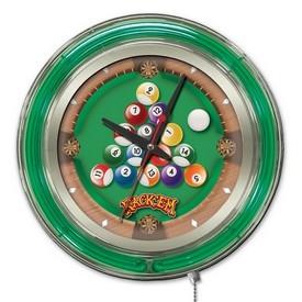 Rack Em Double Neon Ring, Logo Clock by Holland Bar Stool Company