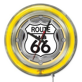 Route 66 Double Neon Ring, Logo Clock by Holland Bar Stool Company