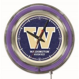 Washington Double Neon Ring, Logo Clock by Holland Bar Stool Company
