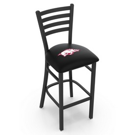L004 - 25 Black Wrinkle Arkansas Stationary Counter Stool with Ladder Style Back by Holland Bar Stool Co.