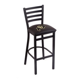 L004 - 30 Black Wrinkle Colorado Stationary Bar Stool with Ladder Style Back by Holland Bar Stool Co.