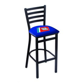 """L004 - 25"""" Black Wrinkle U.S. Coast Guard Stationary Counter Stool with Ladder Style Back by Holland Bar Stool Co."""