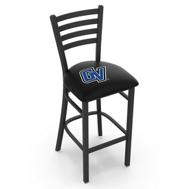 L004 - 30 Black Wrinkle Grand Valley State Stationary Bar Stool with Ladder Style Back by Holland Bar Stool Co.