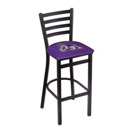 L004 - 25 Black Wrinkle James Madison Stationary Counter Stool with Ladder Style Back by Holland Bar Stool Co.
