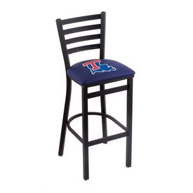 L004 - 30 Black Wrinkle Louisiana Tech Stationary Bar Stool with Ladder Style Back by Holland Bar Stool Co.