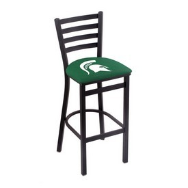 L004 - 25 Black Wrinkle Michigan State Stationary Counter Stool with Ladder Style Back by Holland Bar Stool Co.