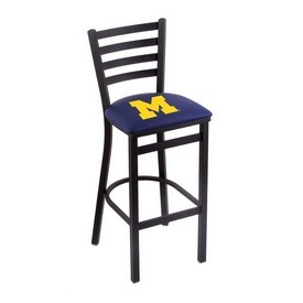 L004 - 25 Black Wrinkle Michigan Stationary Counter Stool with Ladder Style Back by Holland Bar Stool Co.