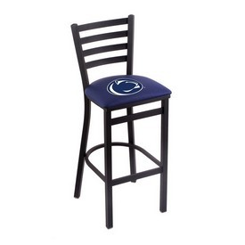 L004 - 30 Black Wrinkle Penn State Stationary Bar Stool with Ladder Style Back by Holland Bar Stool Co.