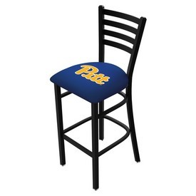 L004 - 30 Black Wrinkle Pitt Stationary Bar Stool with Ladder Style Back by Holland Bar Stool Co.