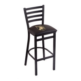 L004 - 30 Black Wrinkle US Military Academy (ARMY) Stationary Bar Stool with Ladder Style Back by Holland Bar Stool Co.