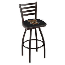 L014 - Black Wrinkle Western Michigan Swivel Bar Stool with Ladder Style Back by Holland Bar Stool Co.