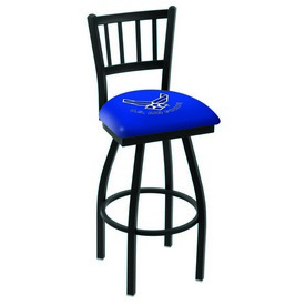 L018 - Black Wrinkle U.S. Air Force Swivel Bar Stool with Jailhouse Style Back by Holland Bar Stool Co.