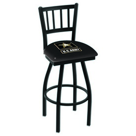 L018 - Black Wrinkle U.S. Army Swivel Bar Stool with Jailhouse Style Back by Holland Bar Stool Co.