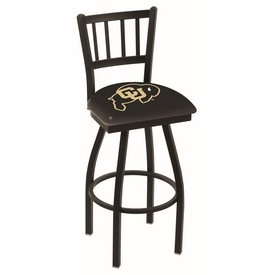 L018 - Black Wrinkle Colorado Swivel Bar Stool with Jailhouse Style Back by Holland Bar Stool Co.