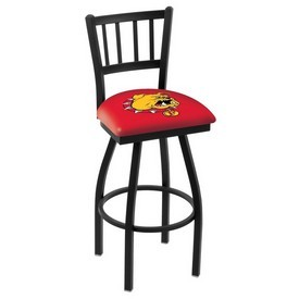L018 - Black Wrinkle Ferris State Swivel Bar Stool with Jailhouse Style Back by Holland Bar Stool Co.