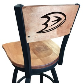 L038 -Black Wrinkle Anaheim Ducks Swivel Bar Stool with Laser Engraved Back by Holland Bar Stool Co.