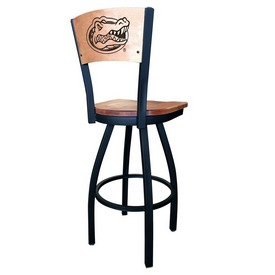 L038 - Black Wrinkle Florida Swivel Bar Stool with Laser Engraved Back by Holland Bar Stool Co.