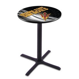 L211 - Black Wrinkle Arizona State Pub Table with Pitchfork Logo by Holland Bar Stool Co.