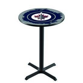 L211 - Black Wrinkle Winnipeg Jets Pub Table by Holland Bar Stool Co.