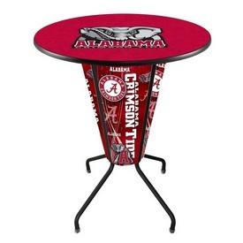 Lighted L218 - 42 Black Alabama Pub Table by Holland Bar Stool Co.