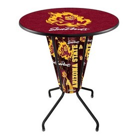 Lighted L218 - 42 Black Arizona State Pub Table with Sparky Logo by Holland Bar Stool Co.