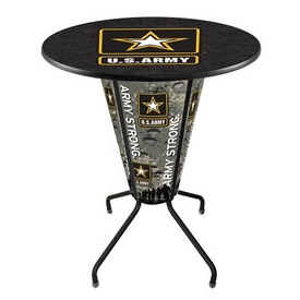 Lighted L218 - 42 Black Army Pub Table by Holland Bar Stool Co.