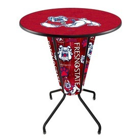 Lighted L218 - 42 Black Fresno State Pub Table by Holland Bar Stool Co.