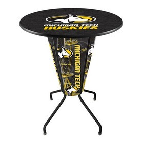 Lighted L218 - 42 Black Michigan Tech Pub Table by Holland Bar Stool Co.