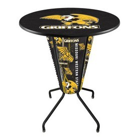 Lighted L218 - 42 Black Missouri Western State Pub Table by Holland Bar Stool Co.